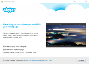 Skype Update preselects Bing, MSN
